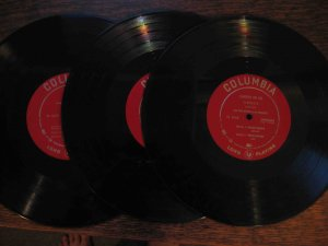 "Liberace, three 10"" LP disks on Columbia"