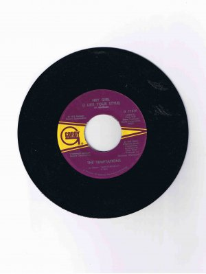 "Temptations 45 rpm Motown single, ""Hey Girl"" b/w ""Ma"" (1973)"