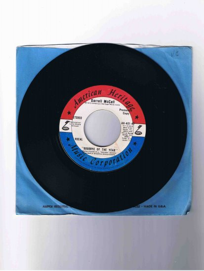 """Darrell McCall 45 rpm single, """"Goodbye of the Year"""" (1973)"""