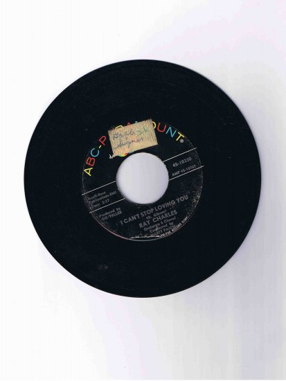 """Ray Charles 45 rpm single, """"I Can't Stop Loving You"""" b/w """"Born to Lose"""""""