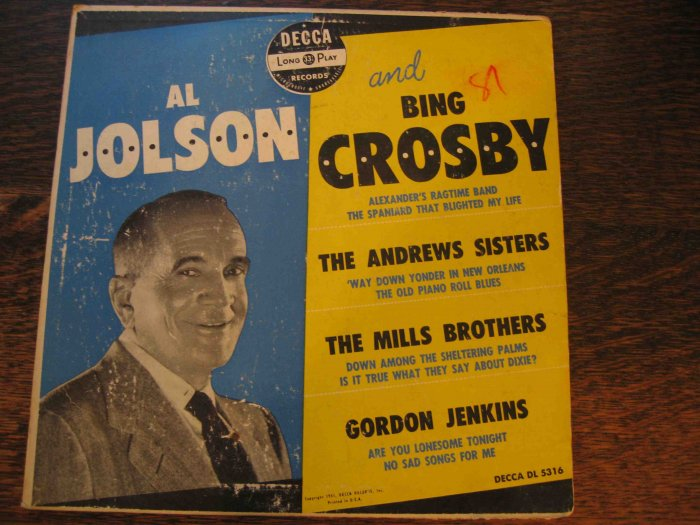 Al Jolson and Bing Crosby 33rpm LP, w/Mills Brothers, Andrews Sisters (1951)