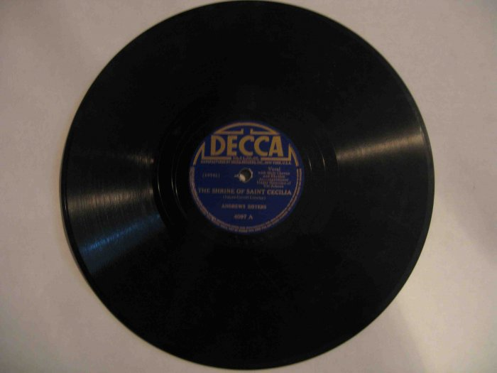 "Andrews Sisters 78 rpm record, ""Shrine of Saint Cecilia"" b/w ""Jack of All Trades"" (Decca)"