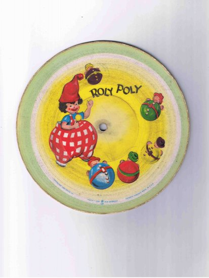 """78rpm 7"""" children's cardboard picture disk, """"Roly Poly"""" / """"Old McDonald"""" (1948)"""