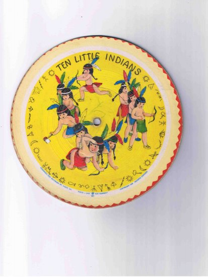 """78rpm 7"""" children's cardboard picture disk, """"10 Little Indians"""" / """"Kitty Cat"""" (1948)"""