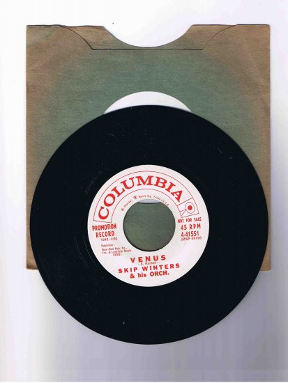 "Skip Winters 45 rpm single, ""Venus"" b/w ""Quiet Night"""