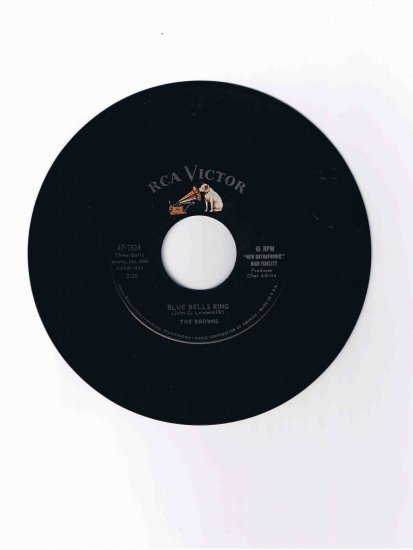 """The Browns 45 rpm single, """"Blue Bells Ring"""" / """"Scarlet Ribbons (for Her Hair)"""""""