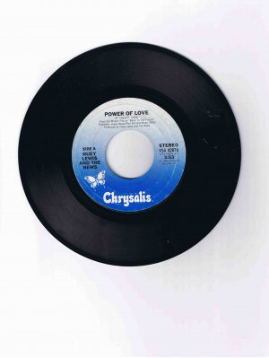 """Huey Lewis & the News 45 rpm single, """"Power of Love"""" / """"Bad Is Bad"""" (1985)"""