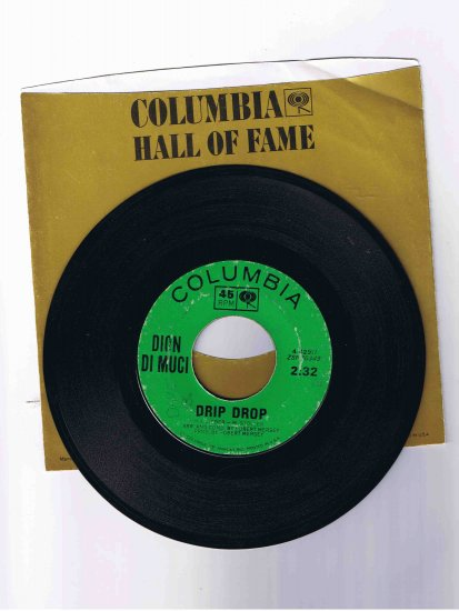 """Dion 45rpm single, """"Drip Drop"""" / """"No One's Waiting for Me"""" (in sleeve)"""