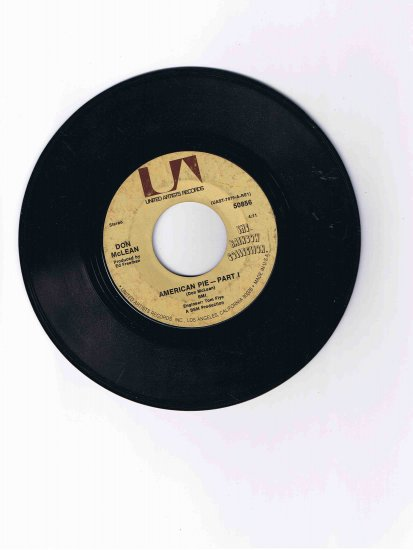 """Don McLean 45rpm single, """"American Pie"""" (United Artists)"""