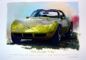 1974 Chevrolet Corvette Poster Yellow T-top NEW