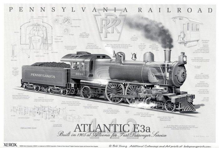 Pennsylvania Railroad Atlantic E3a Steam Engine Poster