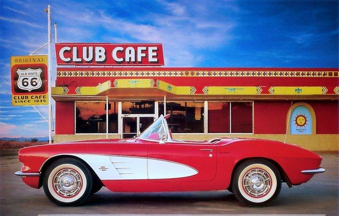 1961 Chevrolet Corvette Convertible Poster Route 66 NEW