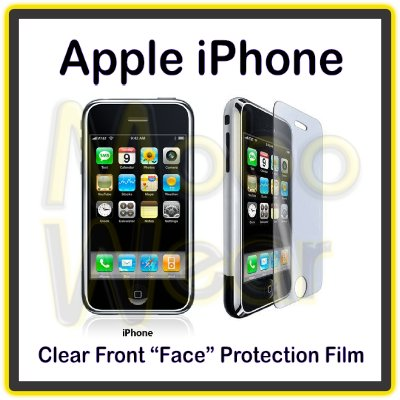 Clear Screen Shield Film for the Front Face of the the Apple iPhone with a Mini Cleaning Cloth