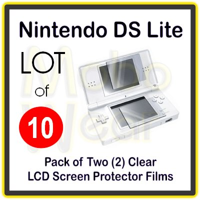 Wholesale Lot - 10 Packs of Clear LCD Screen Protector Films for Nintendo DS Lite/NDS Lite
