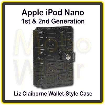 Shiny Black Liz Claiborne Folio/Wallet-Style Case for Apple iPod Nano 1st & 2nd Generation