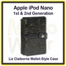 Shiny Black Liz Claiborne Folio/Wallet-Style Case for Apple iPod Nano 1st & 2nd Generation
