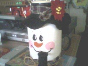 Snowman candle mason jar