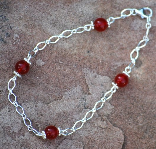 Ruby Red Quartz Wirewrapped Sterling Silver Diamond Bracelet