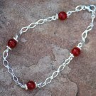 Ruby Red Quartz Wirewrapped Sterling Silver Diamond Bracelet