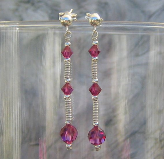 Handcrafted Fuschia Crystal Sterling Silver Wirewrapped Dangle Post Earrings