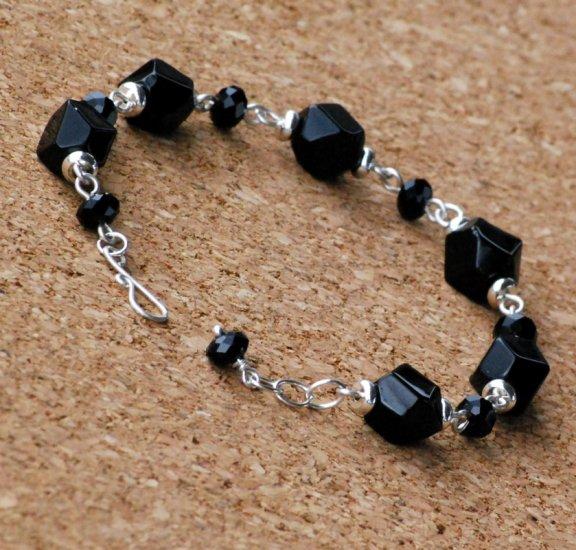 Faceted Black Agate Pebble and Quartz Sterling Handcrafted Bracelet