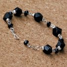 Faceted Black Agate Pebble and Quartz Sterling Handcrafted Bracelet