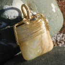 Golden Colorado Amazonite Pendant Gold Wire Wrapped