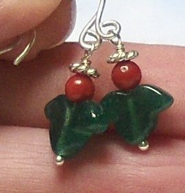 Christmas Angel Earrings - Handcrafted Coral Aventurine Sterling Silver