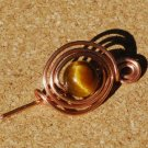 Eye of the Tiger Handcrafted Tigereye YinYang Copper Shawl Pin Brooch