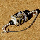 Gold Black Lampwork Glass on Sterling Silver Fibula Shawl Pin Brooch Handcarafted