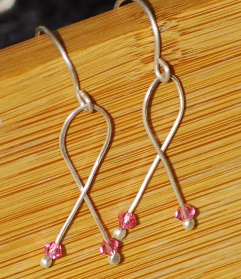 Breast Cancer Awareness Earrings Elegant Pink Ribbon Silver