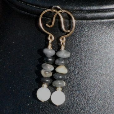 White Carnelian Earrings with Black and Gray Jasper Gold