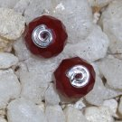 Ruby Red Quartz Sterling Silver Post Stud Earrings Handcrafted