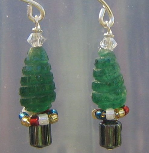 Carved Aventurine Christmas Tree Sterling Silver Earrings with Presents!