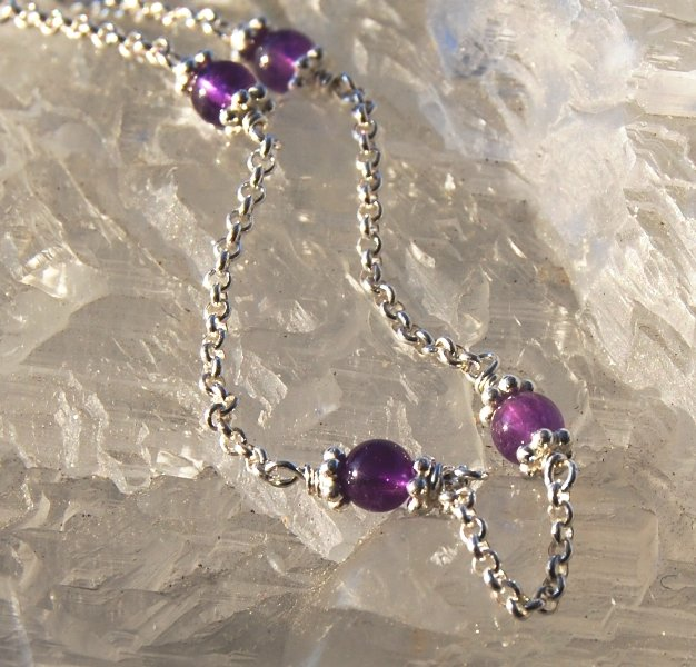 Amethyst in Sterling Silver Chain Bracelet Purple Handcrafted