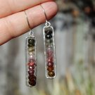 Watermelon Tourmaline Stacked Earrings in Hammered Frame Recycled Sterling Silver