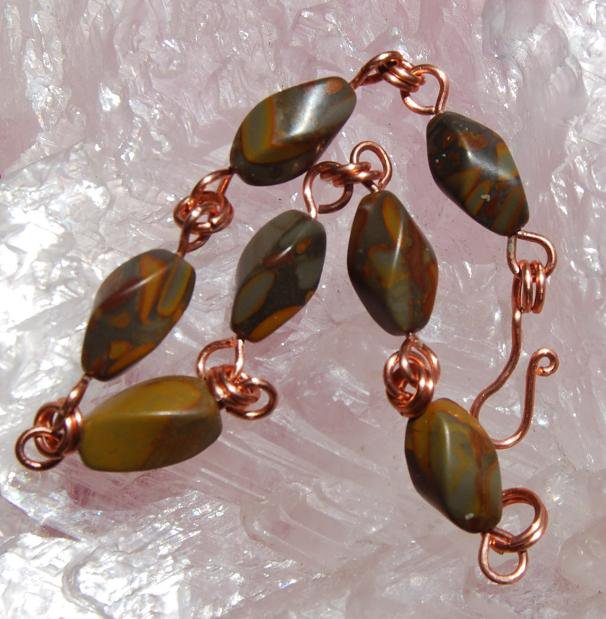 Natual Bamboo Jasper Handcrafted Wire Wrapped Copper Links Bracelet