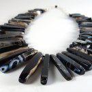 Bold Striped Agate Collar Necklace Handcrafted