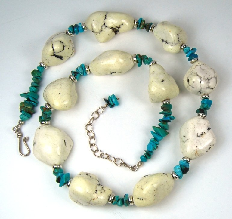 Green and White Turquoise Necklace Large Magnesite Nugget Sterling Silver Handcrafted