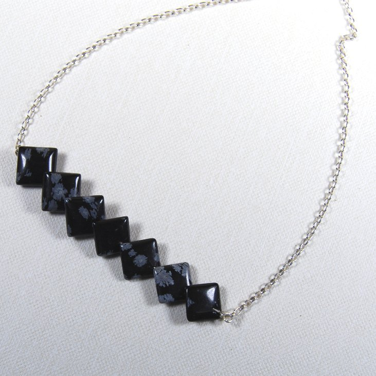 Black White Snowflake Obsidian Squares Handcrafted Sterling Silver Necklace Choker