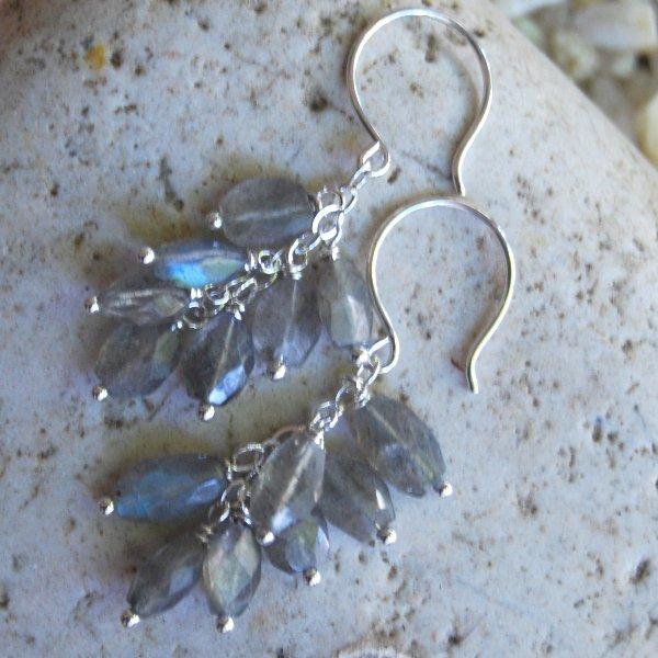 Labradorite Dangle Earrings Handcrafted Blue Flash