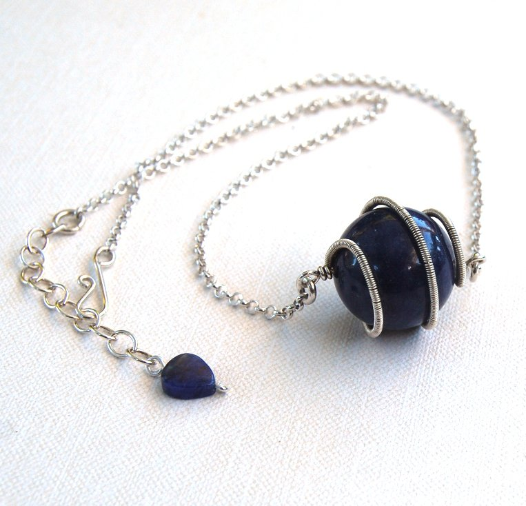 Denim Blue Necklace Dumortierite Spiral Pendant Sterling Silver