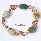 Natural Ocean Jasper Handcrafted Wild Copper Link Bracelet