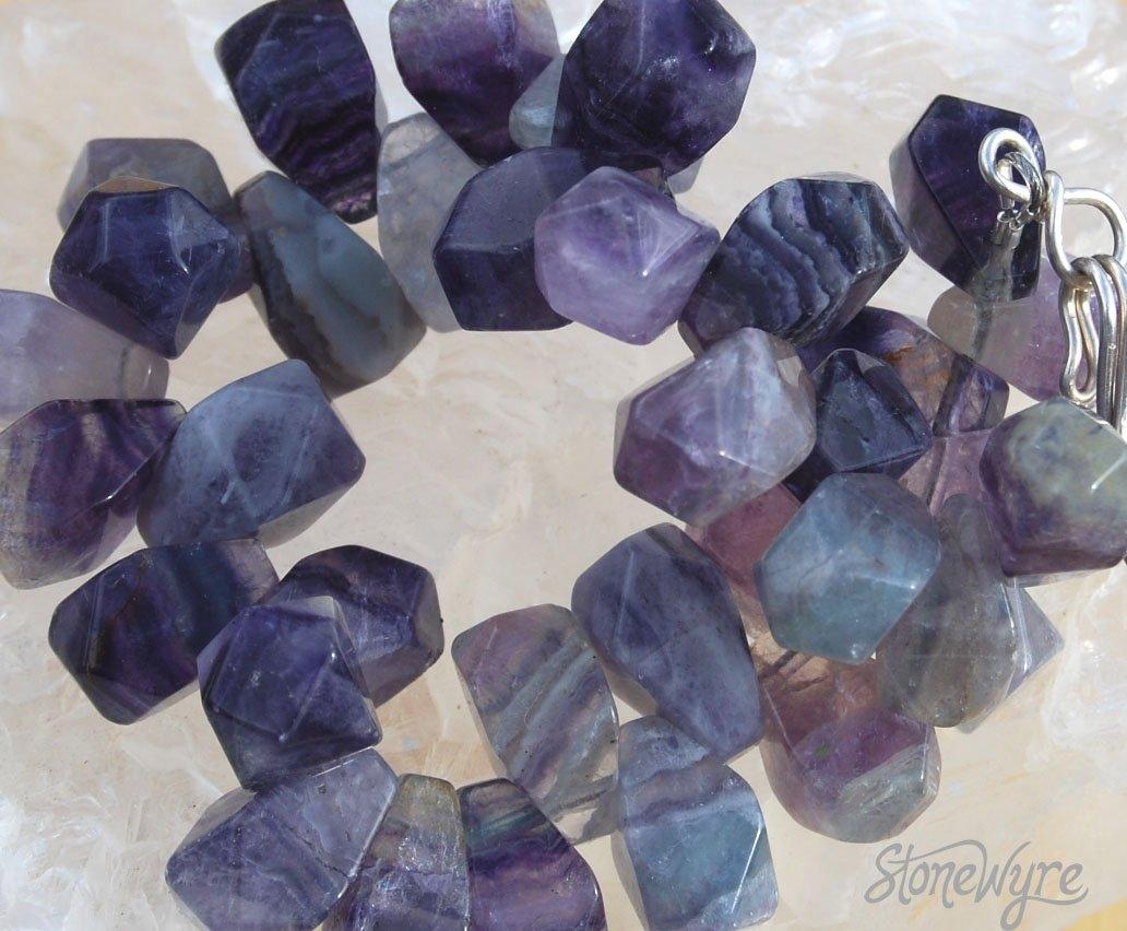 Purple Fluorite Sterling Silver Bracelet