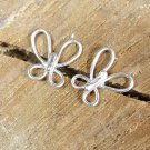 Butterfly Sterling Silver Post Stud Earrings Wire Wrapped Handcrafted