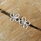 Clover Sterling Silver Post Stud Earrings Wire Wrapped Handcrafted
