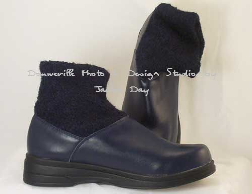 AJ Valenci Perfect Comfort Leather Tonal Knit Ankle Boot NAVY Blue Size 7