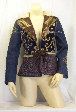 VANITY COLLECTION Tie-Front Crown Patchwork Jacket 128-018