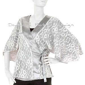 REVERSIBLE KIMONO WRAP BY HOT IN HOLLYWOOD - SILVER  LARGE