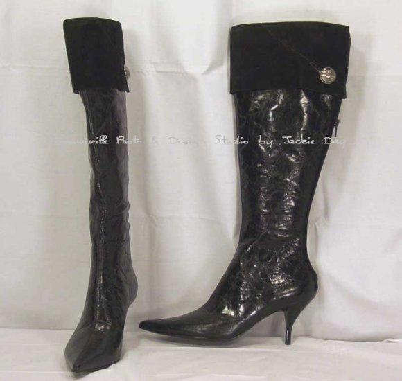 Nine West Tall Leather Boot with Suede Cuff - Item: 762-305